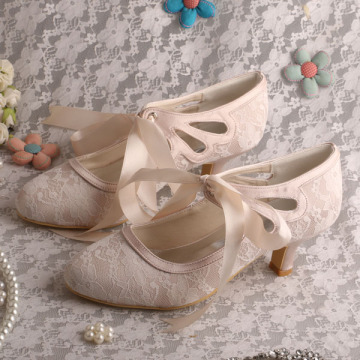 Top Selling Lace up Bridal Shoes Nude