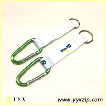 Custom silk screen printing logo carabiner hook keychain