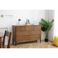 Dark Brown Chest with 7 Drawers Solid Rubber