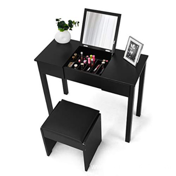 Black Bedroom Furniture Dresser Vanity Makeup Dressing Table with Flip Top Mirror 2 Drawers & 3 Removable Organizers