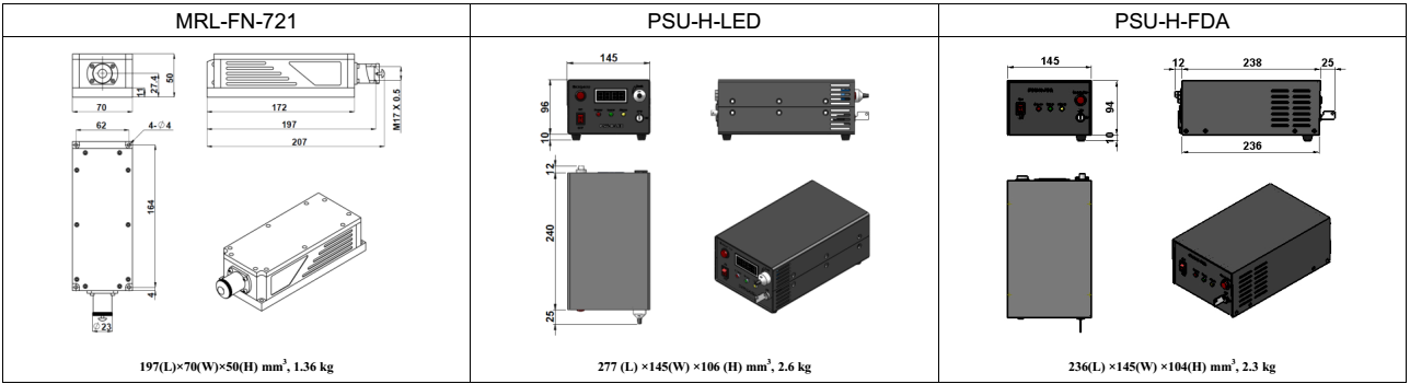 dimensions of 500mw 721nm red laser