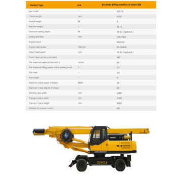 Dingli produces wheeled portable rotary drilling rig