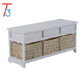 wooden shoe storage wicker basket bench seat with 3-drawer