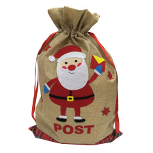 Christmas burlap sack with santa pattern