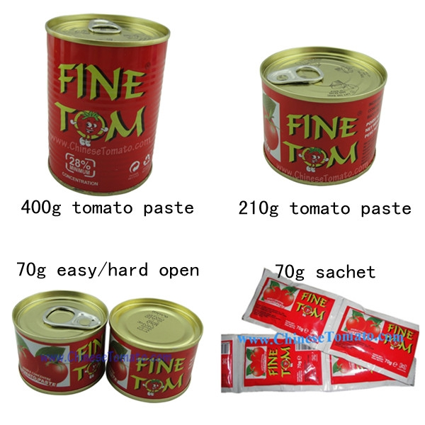 Tomato paste of different sizes