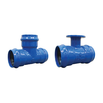 Mopvc double socket with flanged branch tee