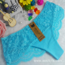 OEM wholesale China cheap panty blue sexy cotton lace elastic new style fancy underwear 012