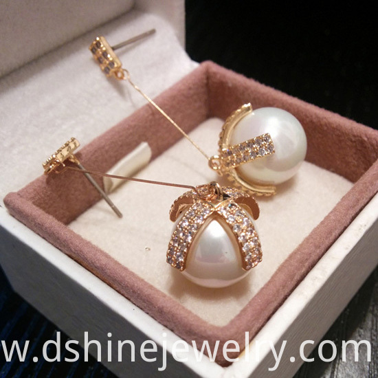Diamond And Pearl Earrings Long Design