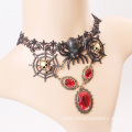 Spider skull charm choker Red stone pendant Lace Necklace
