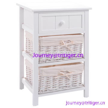 White Wood Night Stand Storage Drawer, 2 Baskets and Open Shelf for Bedroom, Bedside End Tableedroom Wood 2 Basket