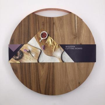 Round wooden cutting board with handle