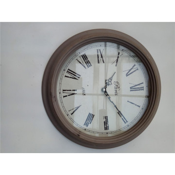 Round Roman Number Wooden Clock