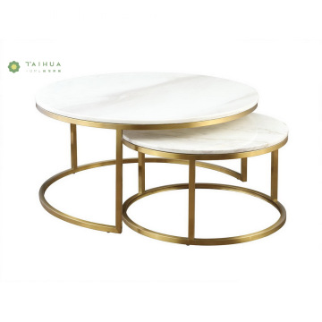 Modern Marble Coffee Table with Brass Legs
