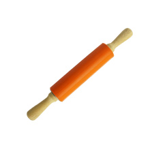Silicone Rolling Pin Non-Stick Surface Wooden Handle