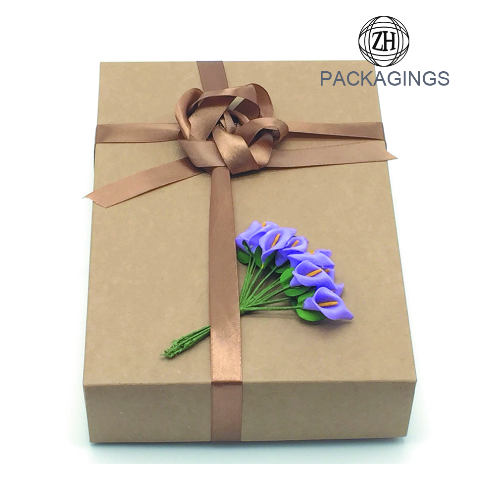 Lid and Bas Kraft Paper Packaging Box for Sale