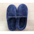 Flat dark blue flannel slippers for men