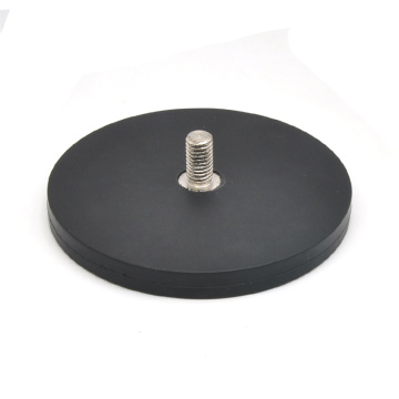 Thread Rod Type Rubber Round Magnet