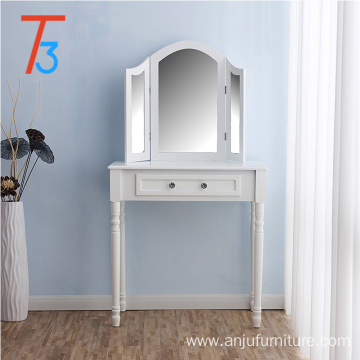 white wooden modern MDF dressing table with mirror drawer stool