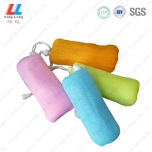 Long single belt bath sponge