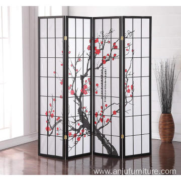 Furniture Black Japanese 4-Panel Screen Room Divider, Plum Blossom