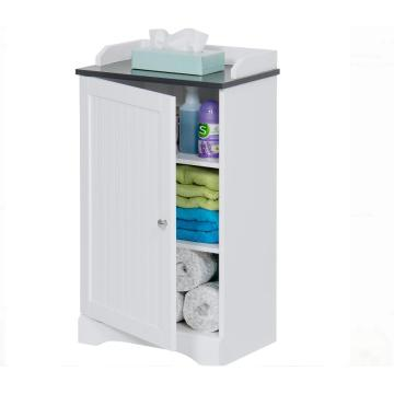 Contemporary White Corner Bathroom  Floor Storage Cabinet
