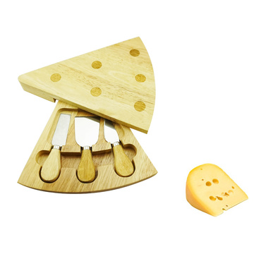Triangle shape wood cheese board set
