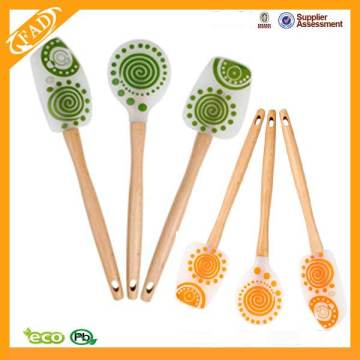 Beech Wooden Handle Silicone Kitchen Spatula Set