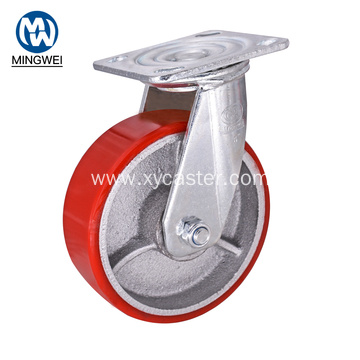 Red PU 6 Inch Swivel Caster Wheels
