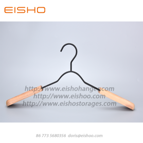 EISHO Black Metal Coat Hanger with Wood Shoulder
