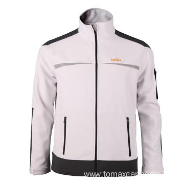 White with grey Softshell Jacket