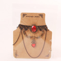 Black Lace Necklet Retro Red Gems Necklace