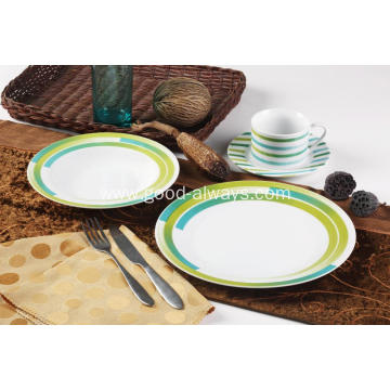 16 Piece Decal Porcelain Dinner Set Green Stripe