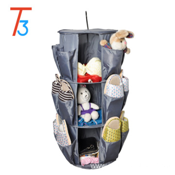 Household Smart Carousel hanging closet shoe Organizer, 3-Tier, 360 Degree Rotation