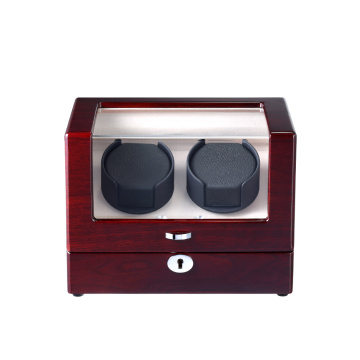 watch winder for two watches with lock and double knobs for TPD settings
