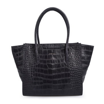 Croc-embossed cowhide Square Tote Bag Black Bag