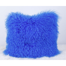Tibet Sheepskin Pillow Blue