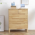 Light Solid Rubber Wood 5 Drawer Chest