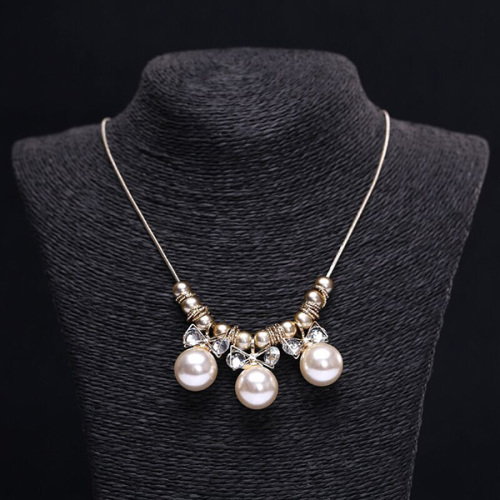 Champagne Pearl Rhinestone Sweater Chain Lovely Temperament Necklace