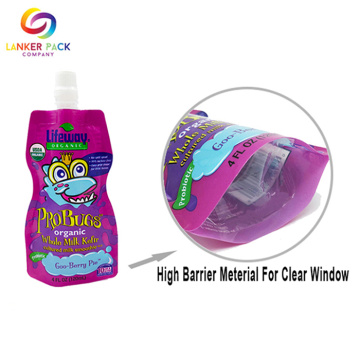 Custom Laminated Plastic Liquid Packaging Spout Pouch Bag