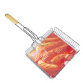 Non-stick grill basket with wooden handle