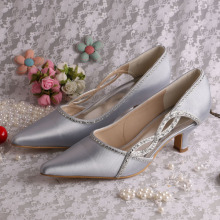 New Fashion Design for Evening Shoes,Italian Bridal Party Shoes,Women Shoes Genuine Leather Manufacturers and Suppliers in China Pointed Toe Prom Shoes Silver Chunky Heel export to South Korea Wholesale