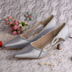 Cheap PriceList for Silver Glitter Prom Shoes Pointed Toe Prom Shoes Silver Chunky Heel export to United States Wholesale