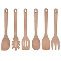 Beech wood utensils 6 pcs of set