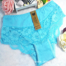 new style China wholesale cheap light green sexy girl lace cotton fancy underwear 875