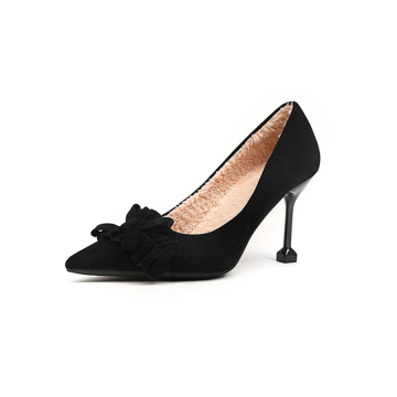 Black Sharp Toe Pony Hair Women's Pumps