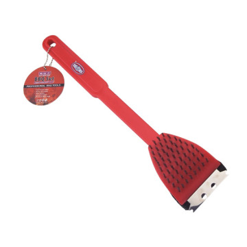 Red  Grill Brush with plastic handle