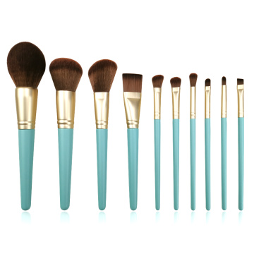 10pc wood handle Makeup Brush Set