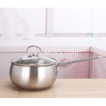 Stainless Steel Milk Pot Cookware with Glass Lid