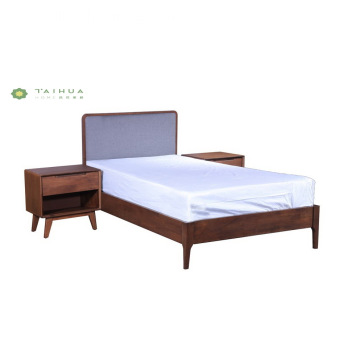 Solid Wood Single Bed W1200 With Grey Cushion