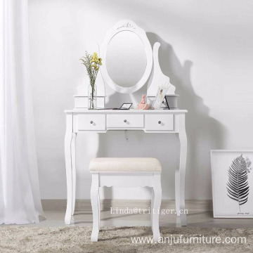 Makeup Vanity Table Set Bedroom Dressing Table with Stool and mirror Wooden dresser